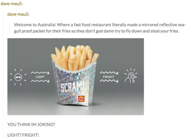 And chips: | 47 Times Australians Were The Funniest People On Tumblr In 2016