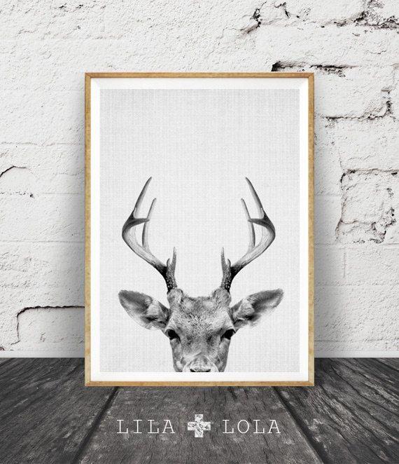 Deer Print Deer Antlers Woodlands Decor Wilderness by LILAxLOLA