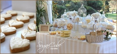 This white-on-white lolly buffet was created for Jessica and Ian for their wedding at the lovely Dunes at Palm Beach, Sydney. Photo by Sydney bomboniere specialists SugarCube Lolly Buffets... see more at http://sugarcube.sydney.weddingcircle.com.au