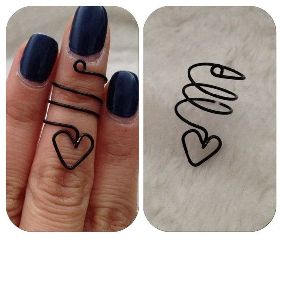 Knuckle/Mid Heart Wire Ring by shopenvyme2013 on Etsy, $3.50. use coupon code: PINTEREST for 20% off at checkout.