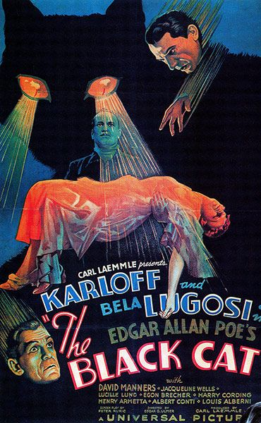 """The first of two appearances by the 1934 Boris Karloff/Bela Lugosi horror The Black Cat, taken from the Poe story. This is the """"Style D"""" one-sheet, which went for $286,800 in 2007. Look at those cat's eyes!"""
