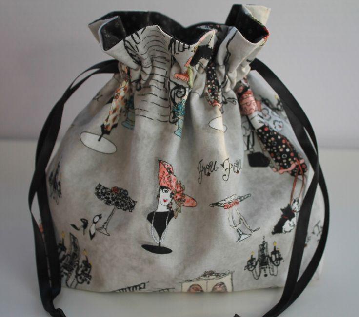 Pochon ,petit sac en tissu fantaisie rétro jeunes femmes shopping Paris : Sacs à main par la-malle-en-osier