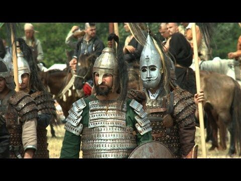 Hungarian re enactors during Kurultaj dressed as traditional Magyar warriors circa 900 a.d
