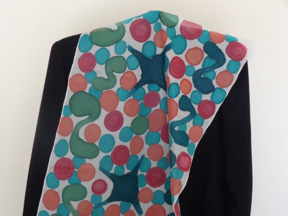 Hand painted silk scarf small multicolored balls gift by Scarfaki