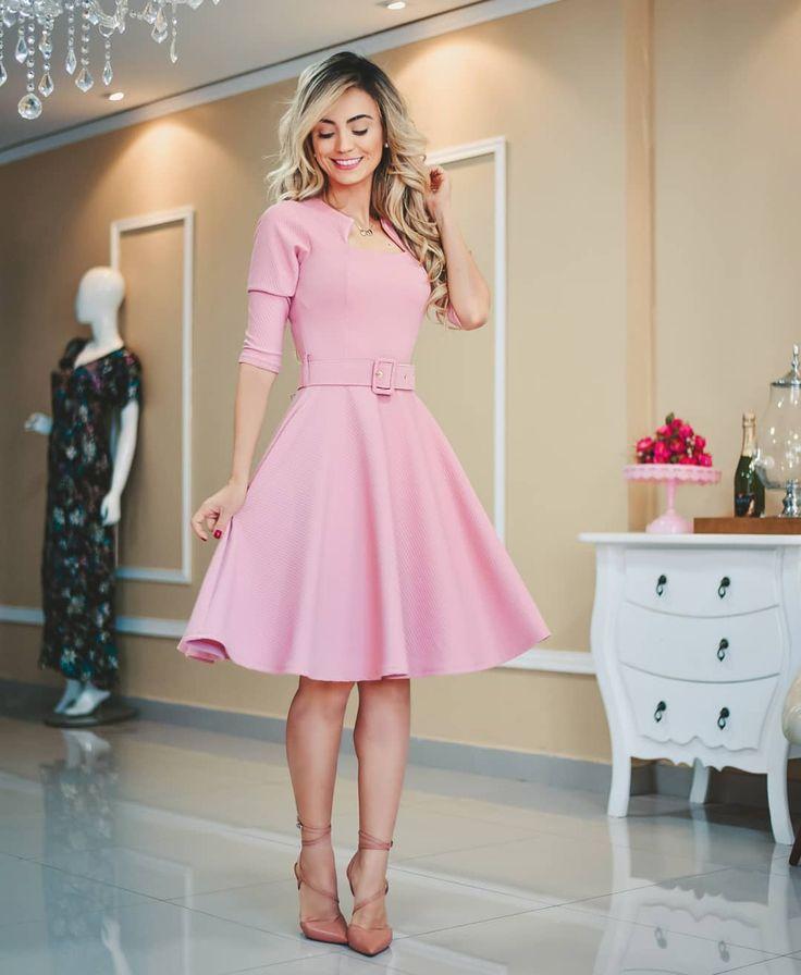 Vestido de princesa passando na sua timeline mulher... ❤❤Vestido Bianca- 189.90❤❤ Tecido: Neopreme com elastano  Cinto acompanha o look. | Dresses, Fashion dresses, Chic outfits
