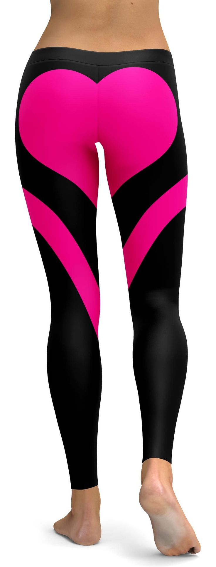 Pink Heart Shaped Black Leggings Funky leggings, Pink