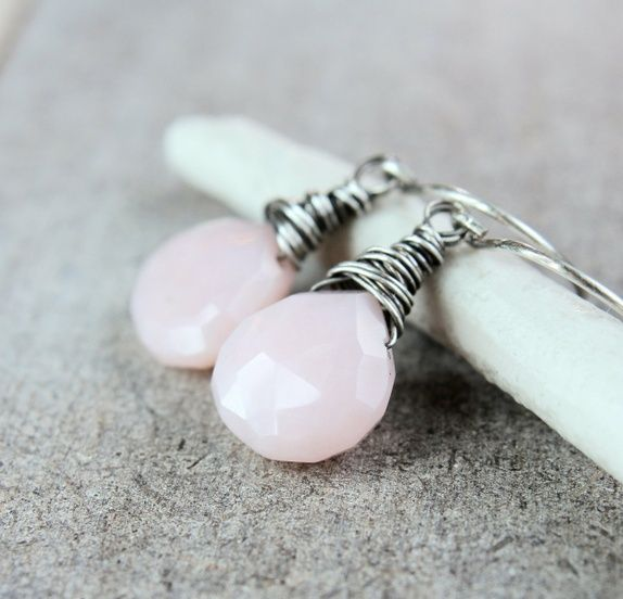 Rosa øredobber - opal - sølv
