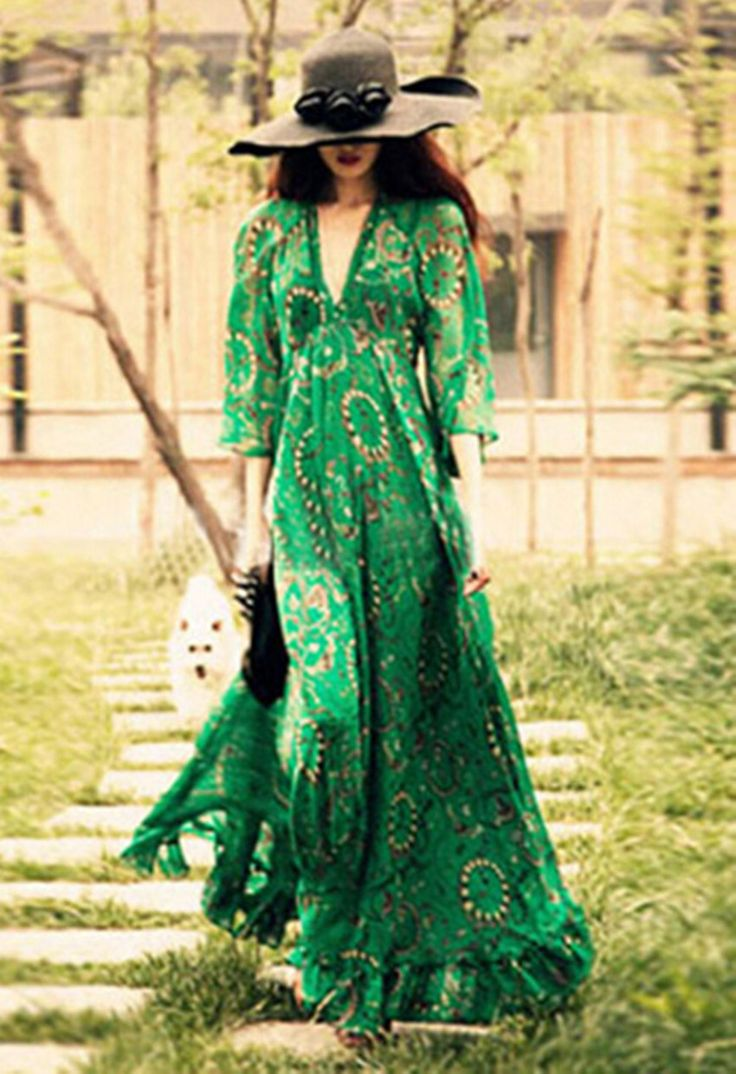 Ucuz 2015 kadın BOHEMIAN Baskılı Çiçek Etnik Yeşil Derin V boyun Uzun Şifon Elbiseler Moda Gisele Beach Dress Seksi MAXI elbise, Satın Kalite elbiseler doğrudan Çin Tedarikçilerden:    2015 Women Ethnic Dresses Baroque Totem Geometric Floral Print Strappy Streamer V-Neck Shift Casual Short DressUSD 15