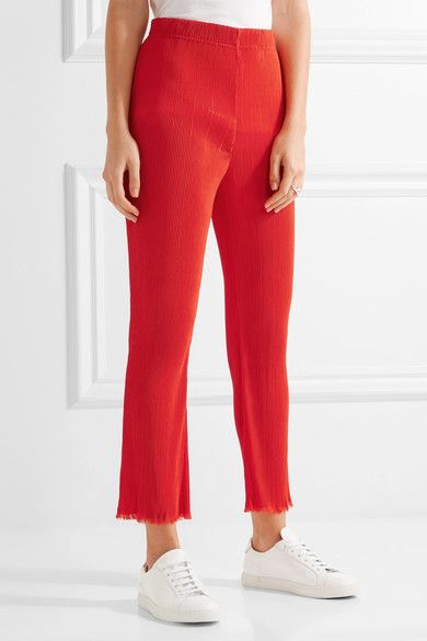 By Malene Birger - Ralano Cropped Plissé-crepe Straight-leg Pants - Papaya - DK36