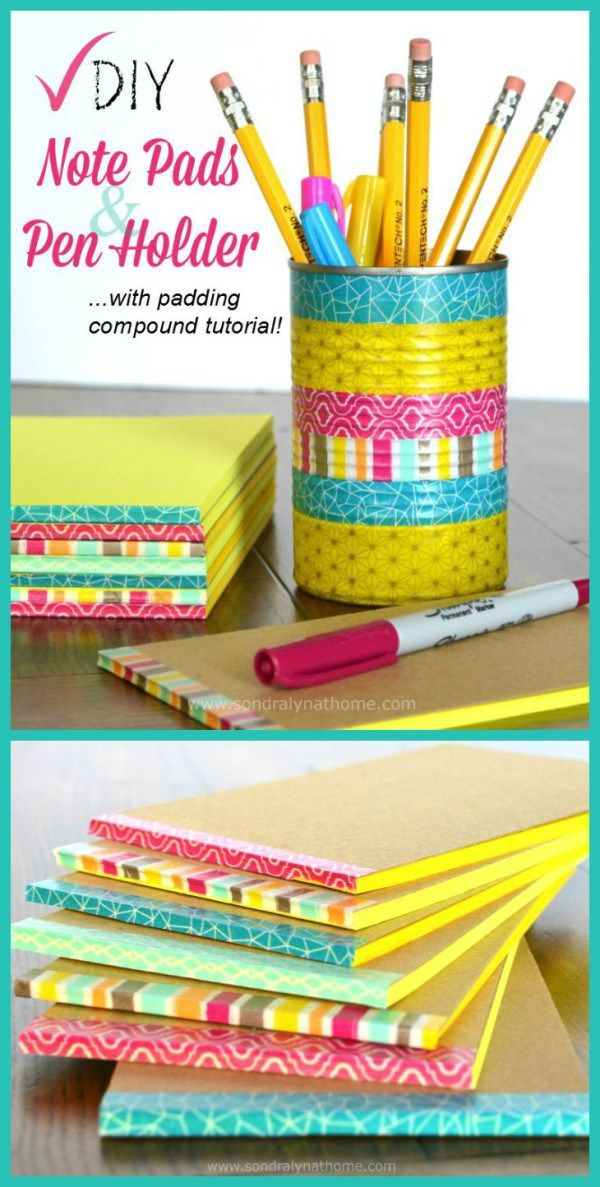DIY Note Pads and Pen Holder -- decorated with Washi Tape  Sondra Lyn at Home