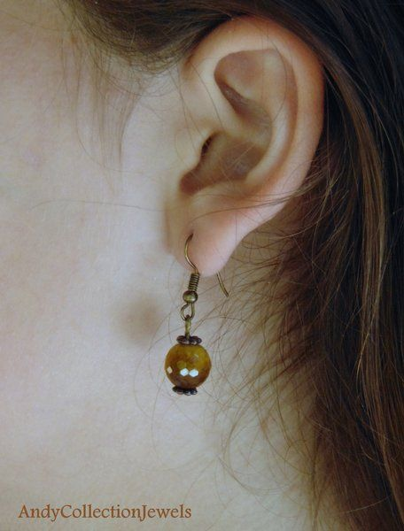 Copper Classic Tiger Eye Dangling Earrings, Gift For Her Jewelry