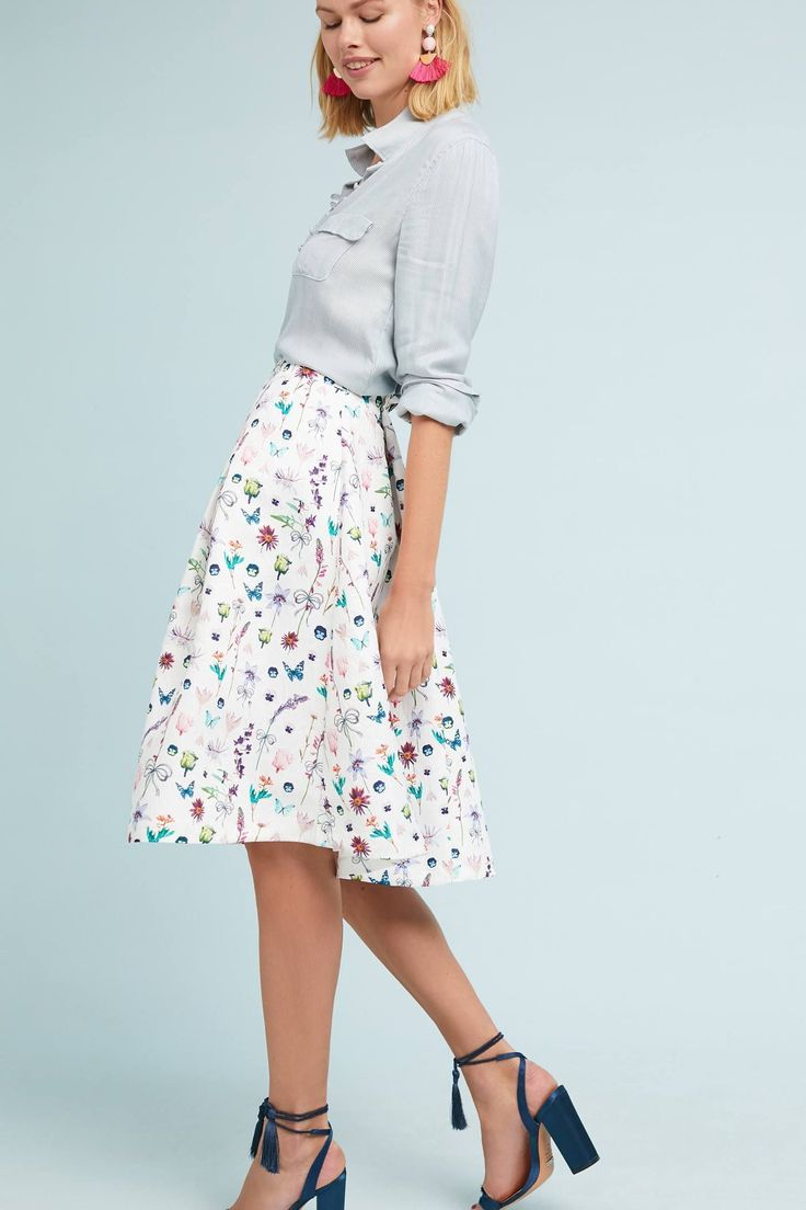 French Botanical Skirt from Anthropologie | Spring 2018 trends | Women's fashion | Spring Fashion | Sophisticated women's fashion | Fashion over 50 | Clothes for women over 50 | Clothes for women over 60 | #women'sfashionforover60's