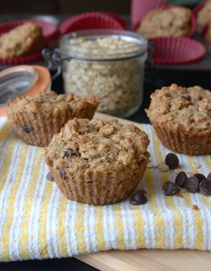Vegan Apple Oat Protein Muffins with Chocolate Chips - Gluten-Free