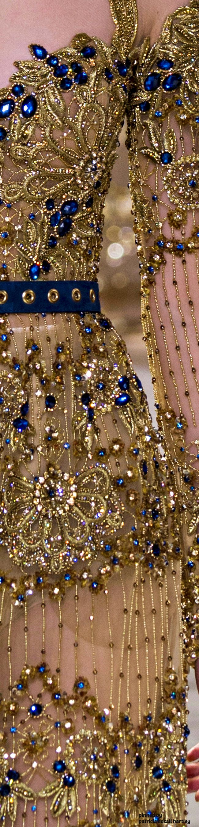 Elie Saab Spring 2017 Couture Details - glittering golds paired with beautiful blues #fairytalegowns...x