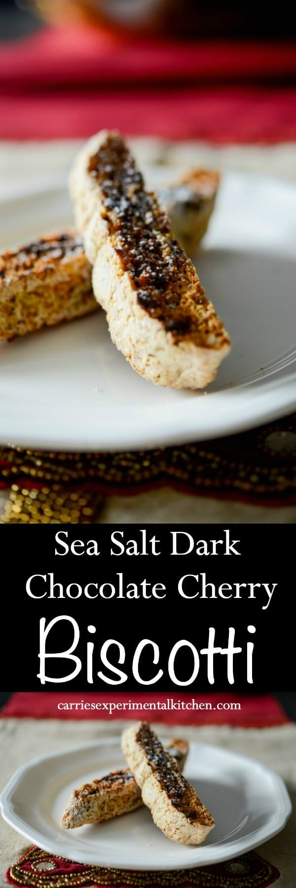 Biscotti is an Italian cookie that's perfect for dunking and this one made with sea salt dark chocolate and dried chopped cherries is going to be your new favorite.#biscotti #cookie #dessert #chocolate #cherry via @CarriesExpKtchn