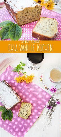 Köstlicher Chia Vanille Kuchen mit WYLD Chia Samen - Schmeckt zum Frühstück und zum Nachmittagskaffee gleichermaßen :) www.lowcarbkoestlichkeiten.de #lowcarb #glutenfrei
