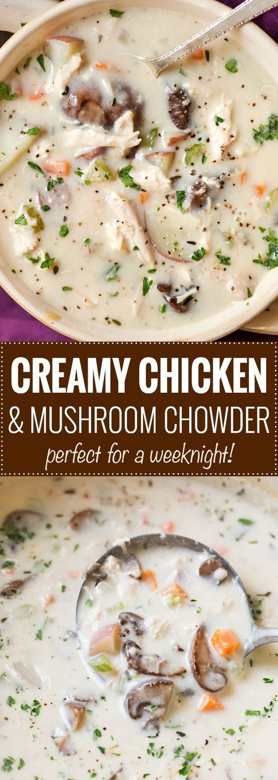 Creamy Chicken and Mushroom Chowder | Perfect for a cold weeknight meal, this chicken and mushroom chowder is thick, creamy and rich, plus it cooks in about 30 minutes! | https://thechunkychef.com | #chowder #souprecipe #mushrooms #potatoes #chowderrecipe #weeknightmeal