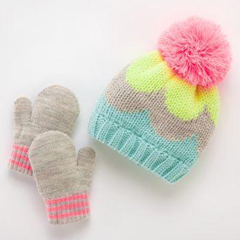 Neon Colorblock Hat & Mittens Set