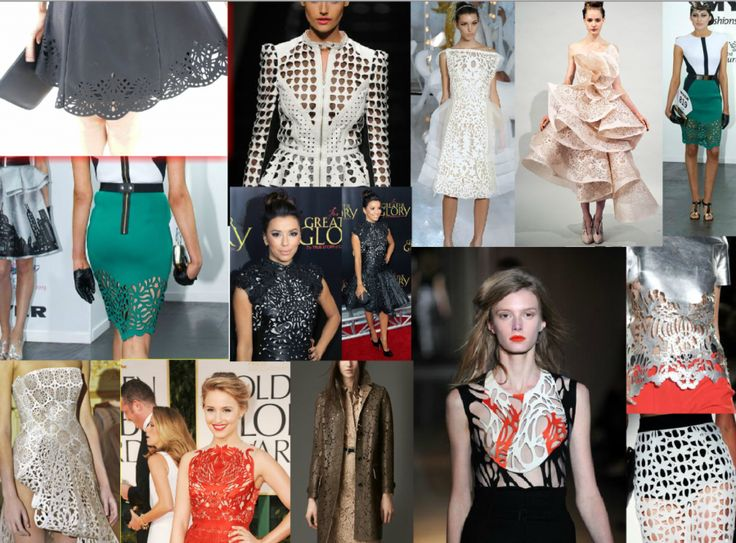 Laser Cut Fashion We have put together a research mood board of some amazing laser cut fashion designs. You can create the most unique pieces with a laser cutter and the possibilities are truly endless. We were lucky enough to cut the emerald green skirt designed by Myer Fashion On The Field winner Oscar Calvo. #oscarcalvo #lasercut #neoprene #myerfashionsonsthefield #designaward #melbournecup