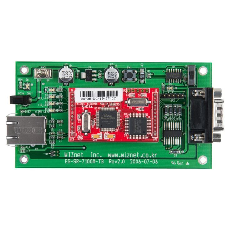WIZ100SR-EVB is a evaluation board for WIZ100SR. WIZ100SR is the serial to Ethernet module using W5100 & 8051 MCU. WIZ100SR is the protocol converter that transmits the data sent by a serial equipment as TCP/IP data type, and converts back the TCP/IP data received through the network into serial data to transmit back toa serialequipment.