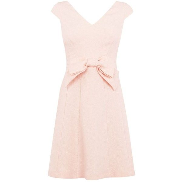 Coast Mayra Bow Dress (1.825 ARS) ❤ liked on Polyvore featuring dresses, blush, women, lined dress, textured dress, shift dress, structured shift dress and pink dress