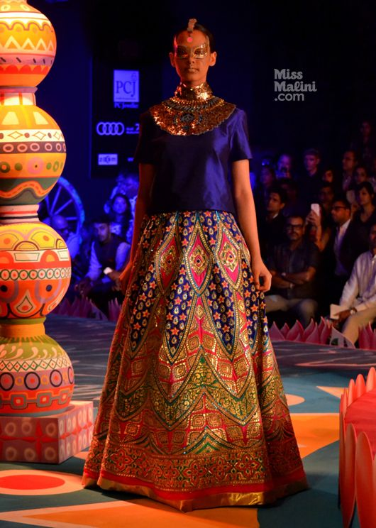Blue Lehenga. Manish Arora. DCW. 2013. Women's Fashion. Indian Couture.