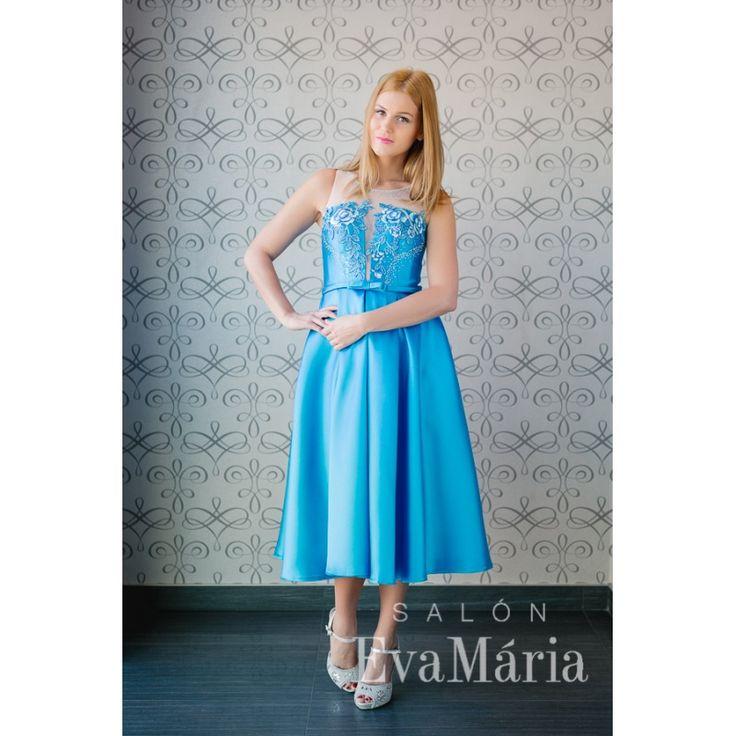 Modré štýlové vintage šaty