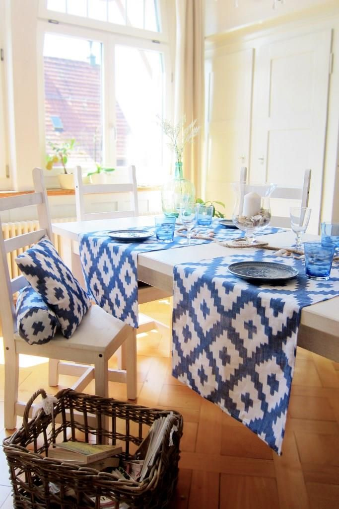 blue and white summer interior