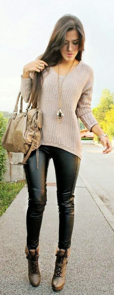 Opt for comfort in a beige oversized sweater and black leather leggings. Elevate this ensemble with brown leather lace-up ankle boots.   Shop this look on Lookastic: https://lookastic.com/women/looks/oversized-sweater-leggings-lace-up-ankle-boots-tote-bag-pendant-bracelet-ring/13438   — Gold Pendant  — Gold Ring  — Beige Oversized Sweater  — Gold Bracelet  — Tan Leather Tote Bag  — Black Leather Leggings  — Brown Leather Lace-up Ankle Boots