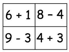 Somtekeningen. je kunt kiezen uit getallen, + en - tot 10, + en - tot 20 en de tafels.