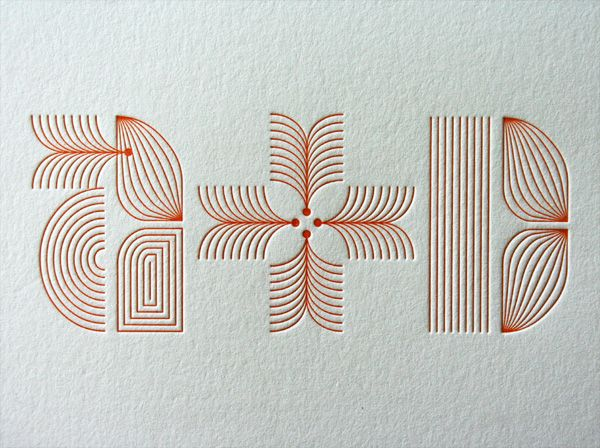 i like the use of the lines in the monogram   Mid Century Modern Typographic Letterpress Wedding Invitations