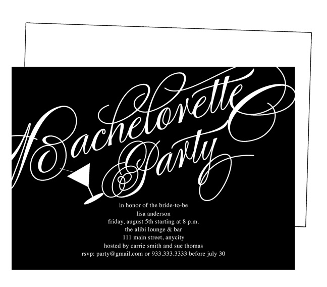 Printable DIY Bachelorette Party Invitations Templates: Classical Bachelorette Party Invitation Template. Classic black and white elegant script with martini glass
