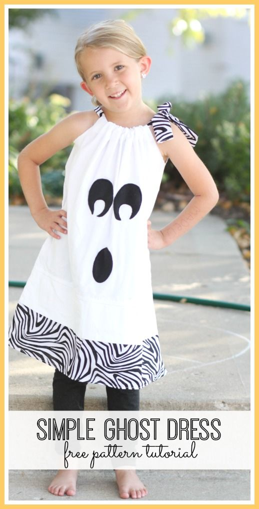 simple ghost dress free pattern tutorial - - love this Halloween costume (or un-costume!) idea!! - - Sugar Bee Crafts
