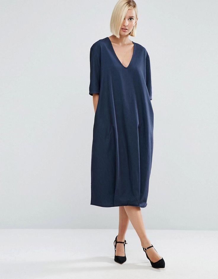 ASOS WHITE Denim V-Neck Midi Dress  76% Cotton, 24% Polyester AW16
