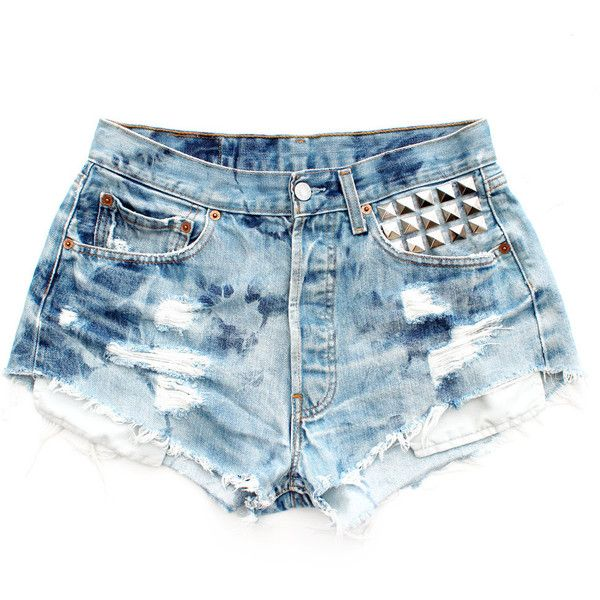 The Flamingo - Pink Studded Tie Dye Re Worked Denim Levis Cut Offs... ($97) ❤ liked on Polyvore
