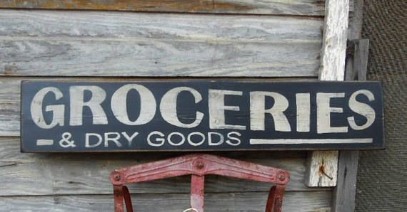 Groceries And Dry Goods Signs Primitive Wood Sign Vintage Etsy In 2020 Grocery Sign Primitive Wood Signs Primitive Kitchen