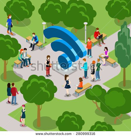 Men & Women 3d flat isometric style with Wi-fi icon in Park concept vector. Creative people collection.
