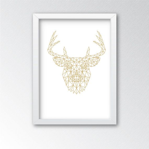 Gold geometric origami deer wall print. INSTANT DOWNLOAD  This is a digital file download, this is NOT A PHYSICAL PRINT.  You receive 2 jpegs: 16 x 20