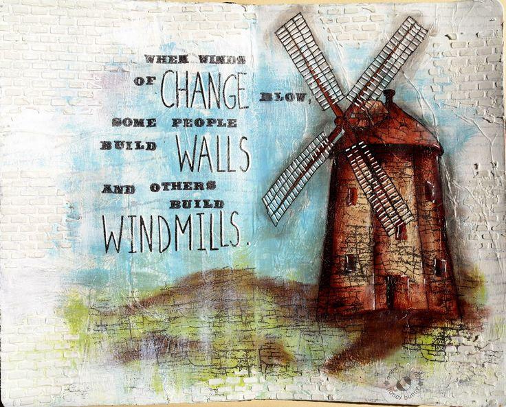 JIJI Cards - Art Journal Page 7: Windmill