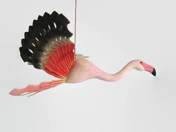 Hand Carved Bird Mobile Greater Flamingo Fan Carving by MyFanbirds