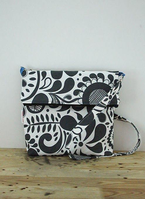 Funky fold over bag   Happy in Red