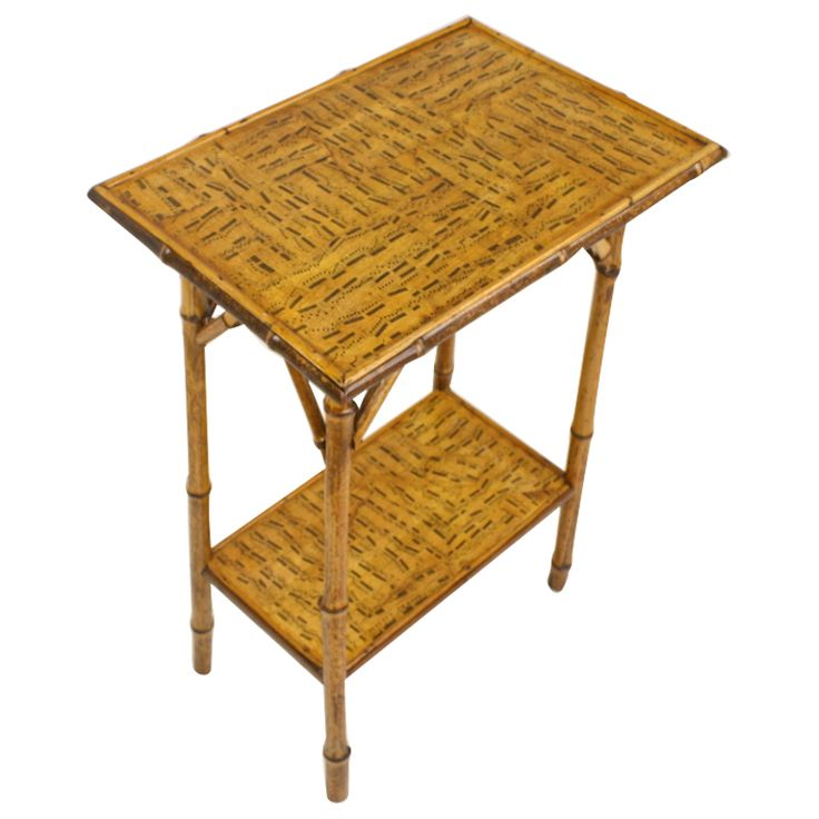 Antique Bamboo Table | Antique English Bamboo Table, Decoupaged