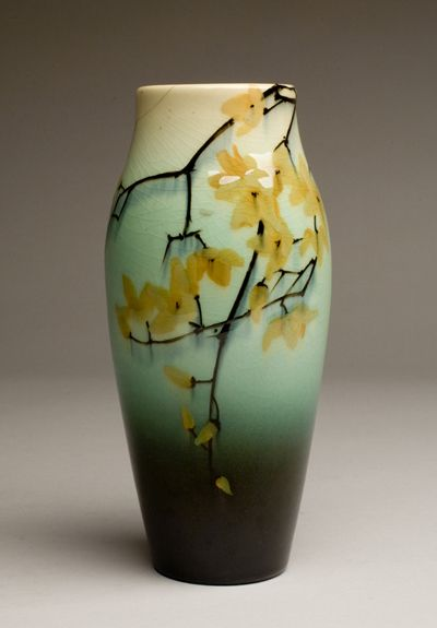 Vase, about 1900produced by Rookwood Pottery, decorated by Sarah Sax, American (1896-1931).  Stoneware with Glaze. 7 5/8 inches H; 3 1/2 inches W  Elisabeth Ball Collection, gift of the George and Frances Ball Foundation