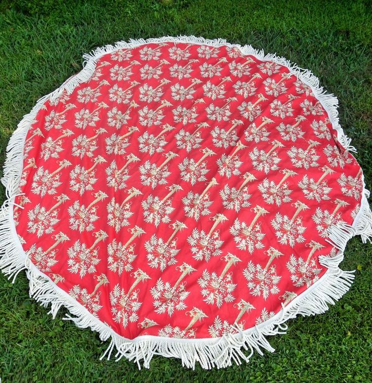 Vintage Designer Round Table Cloth with Fringes Pat Freund for P Kaufmann Fabric