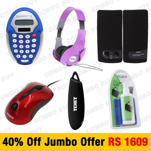 "Call @ 9769465202. Buy Power Bank, Headphone, Optical Mouse, USB Speaker, Calculator and Screen Cleaning Kit at 40% off in one package with the ""Jumbo Combo"" offer of Shopattack.in. Rs.1,609 Only."