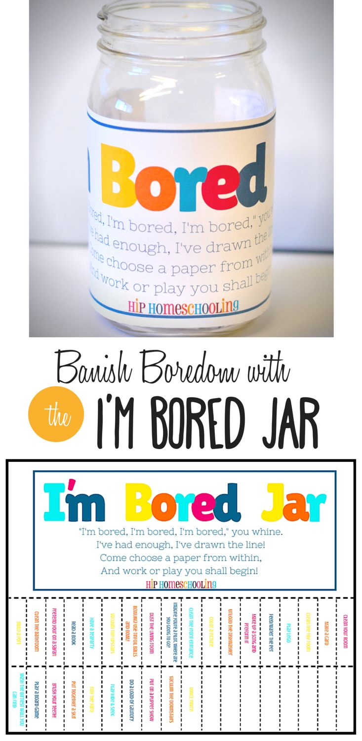 The I'm Bored Jar free printable! Find some creative boredom buster ideas and motivation for your kids! Filled with funny activities, crafts, and even chores, your little ones won't know what to expect when they reach their hand in!