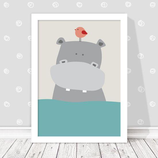 Αφίσα με χαρούμενο ιπποπόταμο στη θάλασσα. Τα παιδιά λατρεύουν τα ζώα, δώστε τους τη δυνατότητα να τα χαρούν μέσα από τη διακόσμηση!