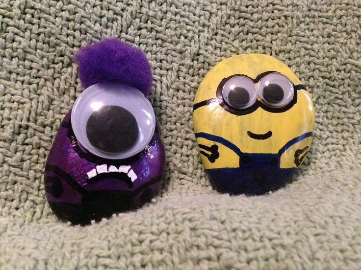Rocks Painted Like Minions Kids Loved This Just Used Some Cheap Nail Polish And Some