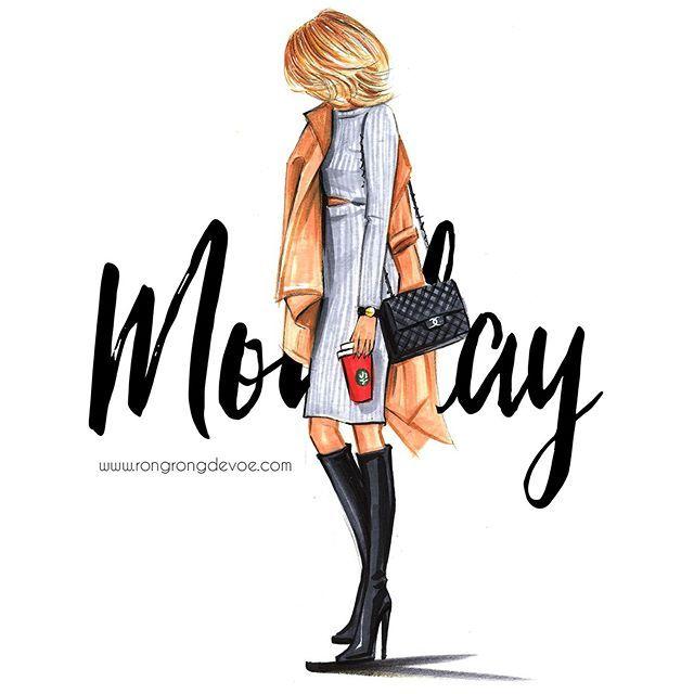 Hello Monday fashion illustration by Rongrong DeVoe. www.rongrongdevoe.com