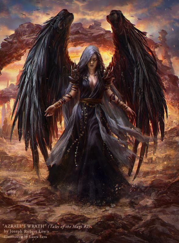 Gothic Art...Azrael's Wrath by Joseph Robert Lewis, Illustration by Artist Laura Sava...